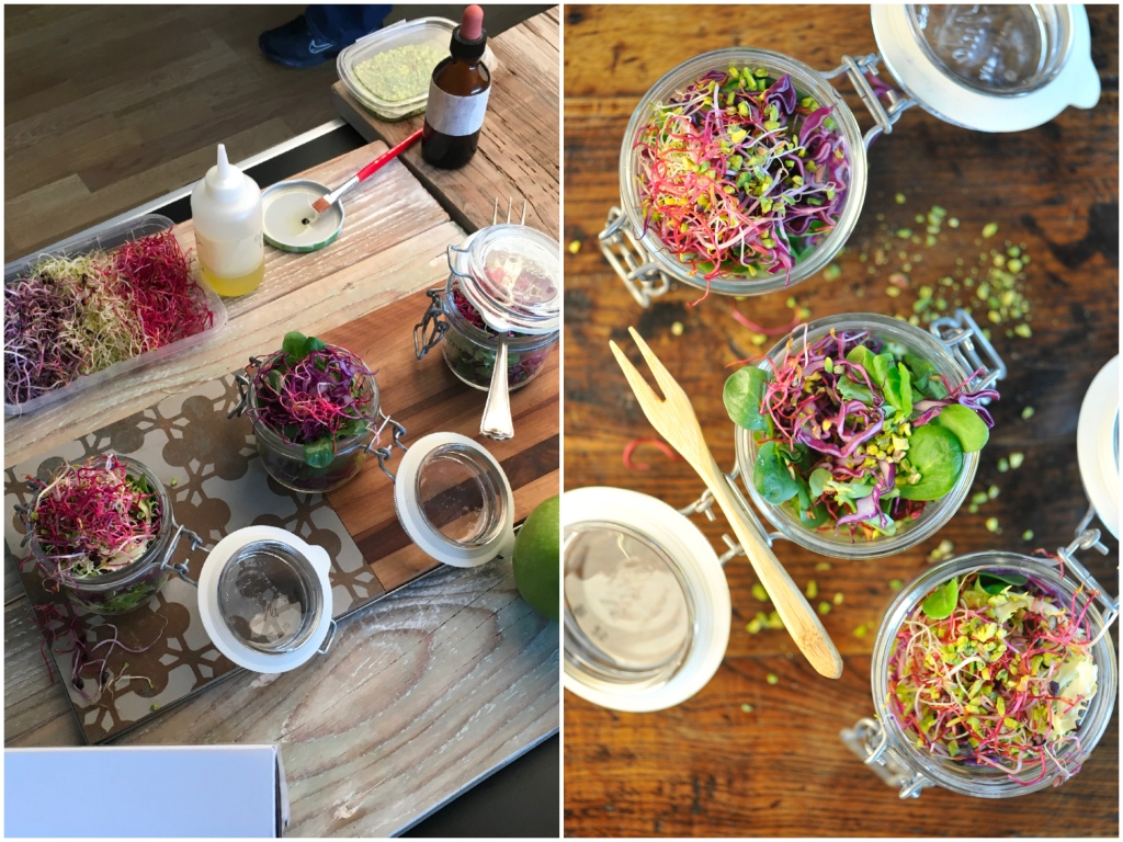 Salads in jars, backstage. Food & Styling Simona Scarone & Orsola Ciriello Kogan;  Photo © Rosangela Giannoccaro